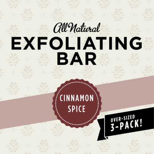 organic exfoliating bar, cinnamon scrub bar
